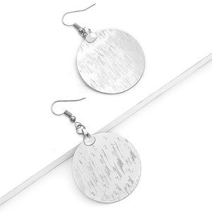 Jewelry - Silver Tone Textured Circle Earrings